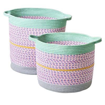 RICE Aufbewahrungskorb, 2 Größen, rund, Lavendel-Mint