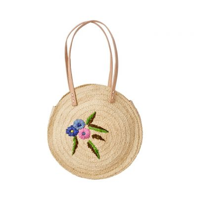 RICE Raffia runde Schultertasche Natur Blumenstickerei