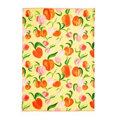 RICE Geschirrtuch Baumwolle, Pfirsiche, Peach Print, Choose Happy