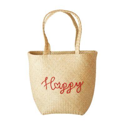 RICE Raffia Tasche, Shopper Strandtasche, Raffia Beach Bag, 'HAPPY' Stickerei