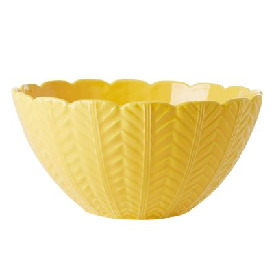 RICE Portugal Keramik Salat-Schüssel mit Wellenrand, Embossed, Gelb