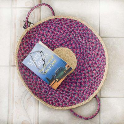 RICE Raffia großer Madagaskar Falt-Korb Ø 53 cm Violett