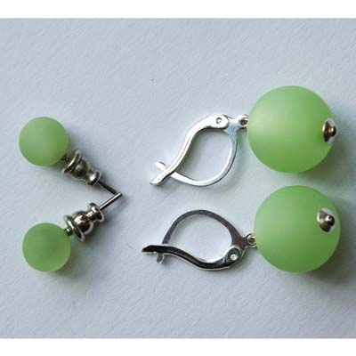 Polarisperlen Stecker Ohrring Mint