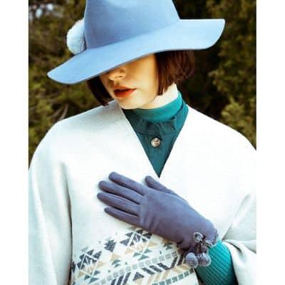 Powder Design Damen Handschuhe Amelia, Fleecehandschuh, Charcoal, One Size