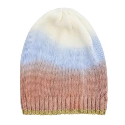 RICE Beanie Ombre Farbverlauf, Cream, Soft Blau und Nougat Braun