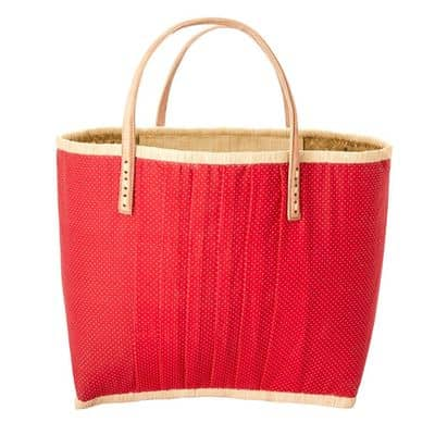 RICE Raffia Shopper Tasche, groß, rot