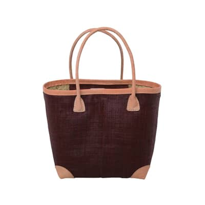 RICE Raffia Shopper, Einkaufstasche, medium, Bordeaux mit Lederhenkel