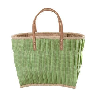 RICE Raffia Shopper, Einkaufstasche, Vichy Karo, groß, Apfelgrün