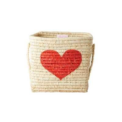 RICE Raffia Korb, quadratisch, rotes Herz, klein
