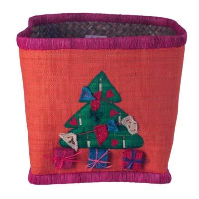 RICE Raffia Aufbewahrungkorb Weihnachtsbaum Motiv