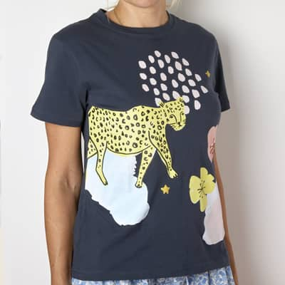 RICE Baumwoll Tshirt Wild Leo Print, versch. Größen