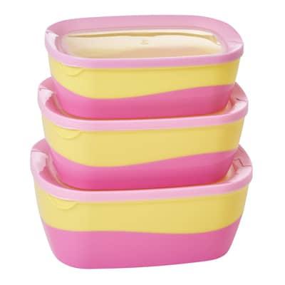 RICE Frischhaltedosen 3er Set, pink/gelb