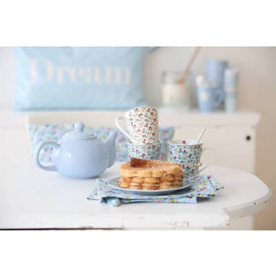 Krasilnikoff Frühstück Teller Mille Fleur, blau