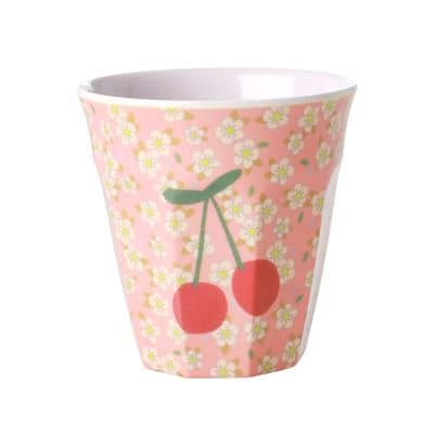 RICE Melamin Becher Small Flowers and Cherry Print,