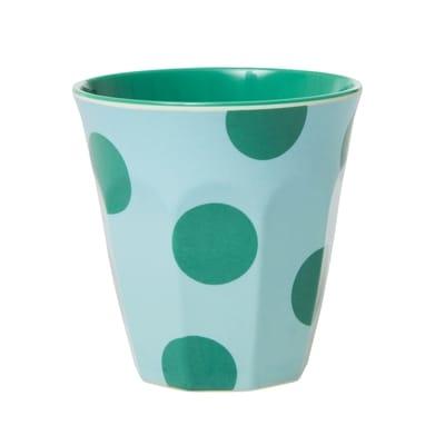 RICE Melamin Becher, Mint, Green Dots/Punkte Print, Two Tone, Medium,
