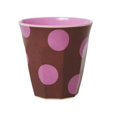 RICE Melamin Becher, Braun, Soft Pink Punkte Print, Two Tone, Medium,