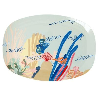 RICE Melamin Servierteller oval, Coral Print