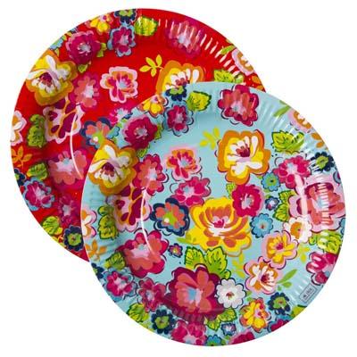 RICE Papierteller Partyteller Rosenmix Set