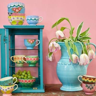 RICE Keramik Schale, Ceramic Bowl, Mint, Blumen