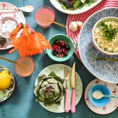 RICE Keramik Dessertteller Tropenblatt/Tropic Leaf