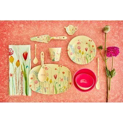 RICE Melamin Servierteller, oval, klein, Sommerblumendruck, Salbeigrün