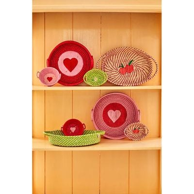 RICE Raffia Brotkorb, Apfelgrün, oval Choose Happy