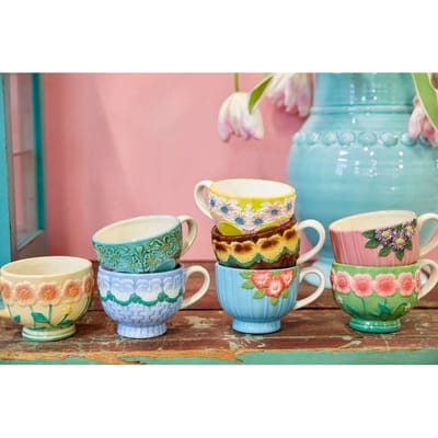 RICE Keramik Tasse Blumen Choose Happy, Embossed Flower Design, Yellow, Gelb