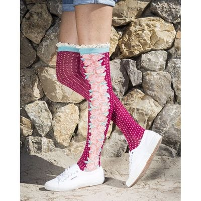 Powder Design Socken Long Climbing Rose Fuchsia