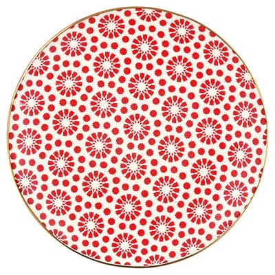 Greengate Steingut Teller Plate Kelly Red W/Gold