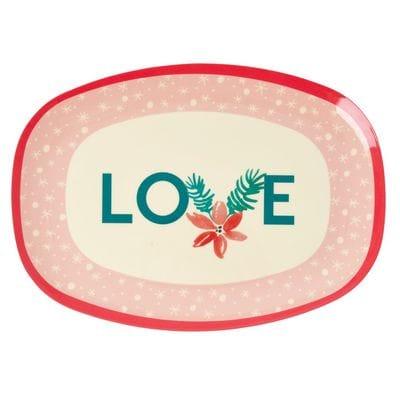 RICE Melamin Tablett, Oval, LOVE, Weihnachstedition 2020