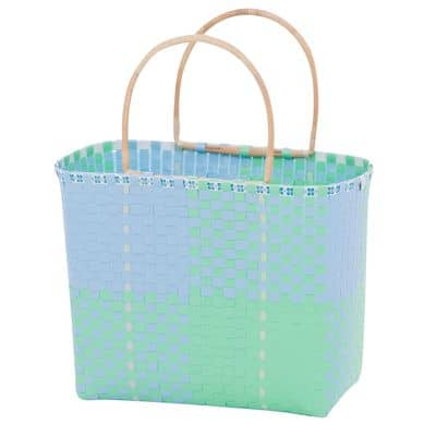 Overbeck and Friends Markttasche Shopper Bambusgriff Ines blau-mint