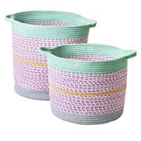 RICE Aufbewahrungskorb rund Set Lavendel-Mint