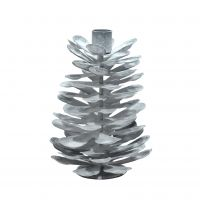 Krasilnikoff Kerzenständer Zapfenform, verzinkt, weiß, 18 cm