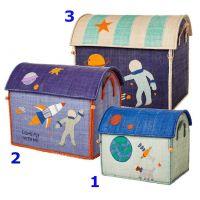 RICE Raffia Spielhaus Set, Storage House, Space Print, Choose Happy