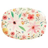 RICE Melamin Tablett, oval, Selmas Flower Print