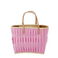 RICE Raffia Shopper, Einkaufstasche Vichy Karo, medium, Dark Pink