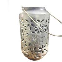 Only Natural Metall Windlicht, weiß, emailliert, medium