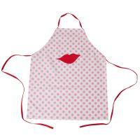 RICE Kinderküchenschürze Baumwolle Kussmund/Kiss und Punkten, Pink