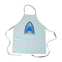 RICE Kinderküchenschürze Baumwolle Hai und Zick Zack-Streifen, Blau