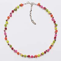 Polarisperlen Kette kleine Perlen Neongrün-Olive-Orange-Pink-Himbeerfarben