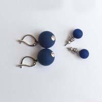 Polarisperlen Hänger Ohrring Marineblau