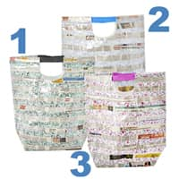 RICE Special Project Fabric Newspaper Bag in 3 Colors - Plum, Blue and Mint