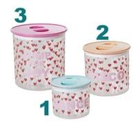 RICE Vorratsdosen Plastic Food Boxes Herzen, 3er set, Airtight Lid Deckel