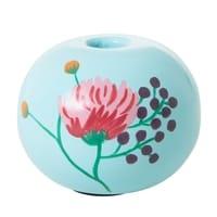 RICE Metall Kerzenständer in Mint, handbemalte Blume, Follow the call of the Disco ball