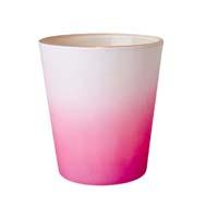 RICE Teelichthalter zweifarbig aus Glas Lavendel-Weiß