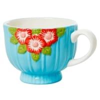 RICE Keramik Tasse Blumen Choose Happy, Embossed Flower Design, Mint