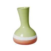 RICE Portugal Keramik Vase, organic shape,  Two Tone, Grün/Koralle