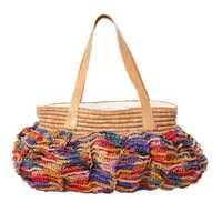 RICE Raffia Tasche CHARLOTTE X-Large, mehrfarbig, farbenfrohe gehäkelte Tasche
