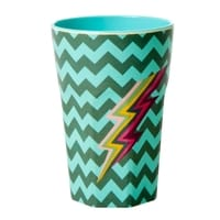 RICE Melamin Cup with Zig Zag Print - Two Tone - Tall