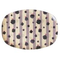 RICE Melamin Servierteller, Blackberry/Brombeere Beauty Print, oval, groß, Follow the call of the Disco ball